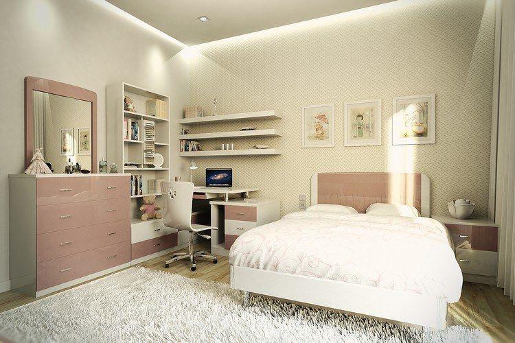 M bel in wei und rosa und indirekte deckenbeleuchtung for Wanddeko jugendzimmer