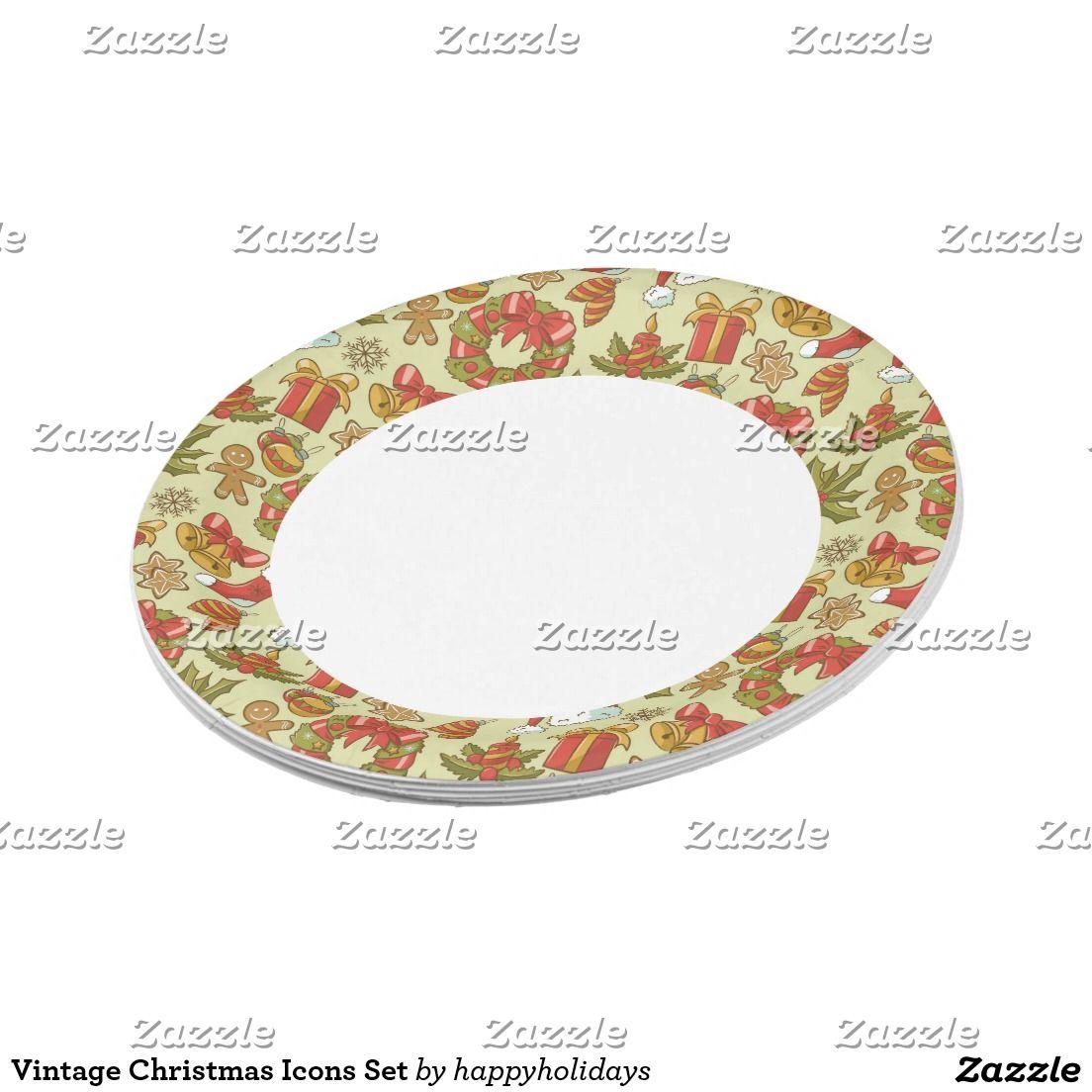Vintage Christmas Icons Set Paper Plate  sc 1 st  Pinterest & Vintage Christmas Icons Set Paper Plate | Christmas icons Vintage ...