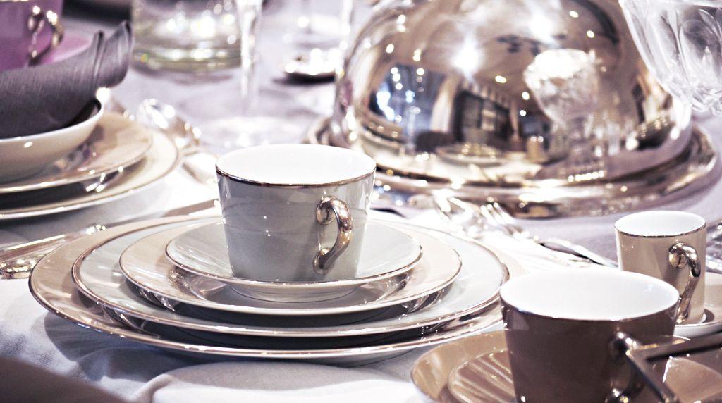 Kaffeetasse mit Untertasse Ginger Pearl & Platin Edles