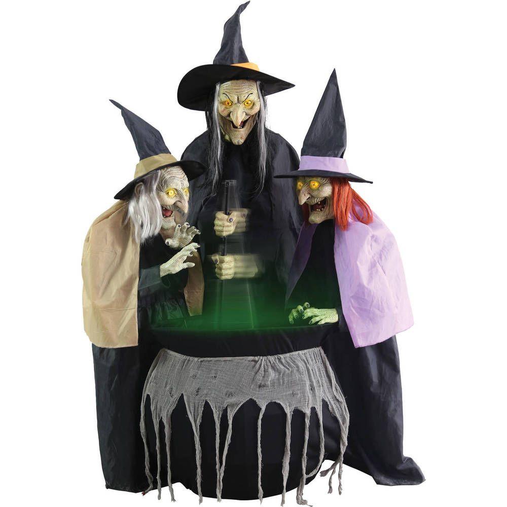 Halloween Animated Witch Decoration Around Cauldron Casting