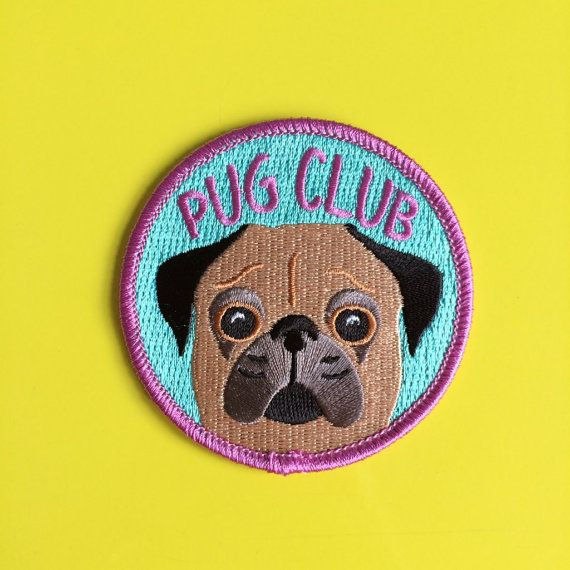 Pug Club Iron On Patch Cute Dog Patch Funny Pug Patch Pug Face