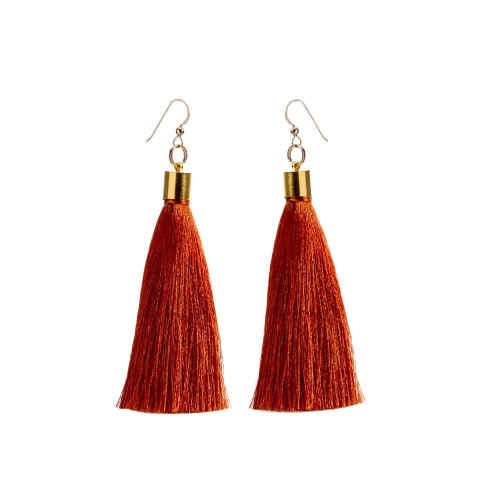 Burnt Orange Silk Tel Earrings