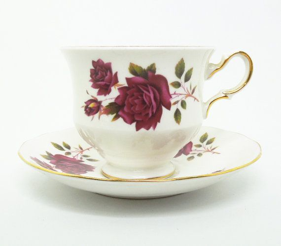 Queen Anne red rose footed tea cup and saucer set by indiecreativ, $19.00