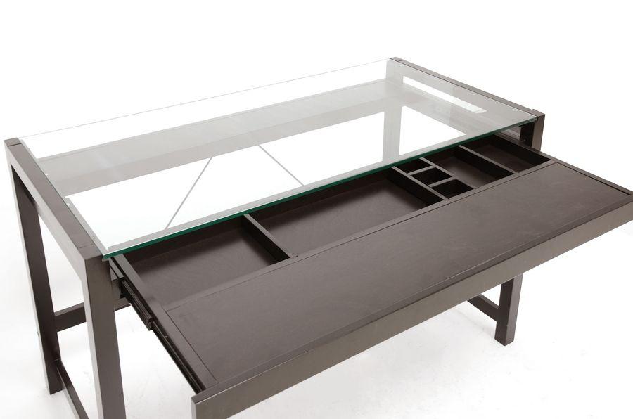 Idabel Dark Brown Wood Modern Desk With Glass Top Modern Wood