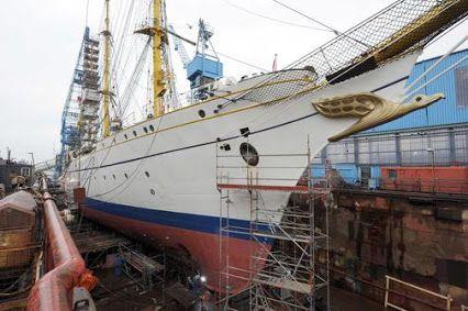 """Die """"Gorch Fock"""" wird derzeit im Dock repariert und in vielen Bereichen auf Funktionalität und… - DGSM e.V. - Regionalgruppe Hamburg"""