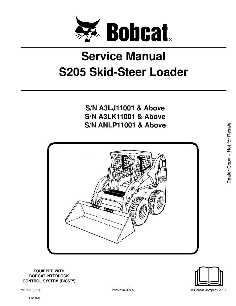 Bobcat S205 Skid Steer Loader Service Manual 6 10 Pdf Download Service Manual Repair Manual Pdf Download Skid Steer Loader Operation And Maintenance Bobcat S185