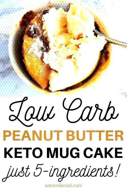 WOW! This sugar free peanut butter mug cake is so GOOD! Healthy peanut butter mu... -