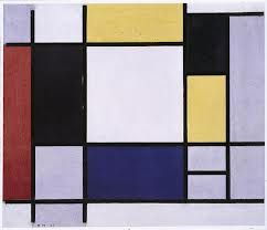 Mondrian: blue is water; yellow is earth; red is sky.