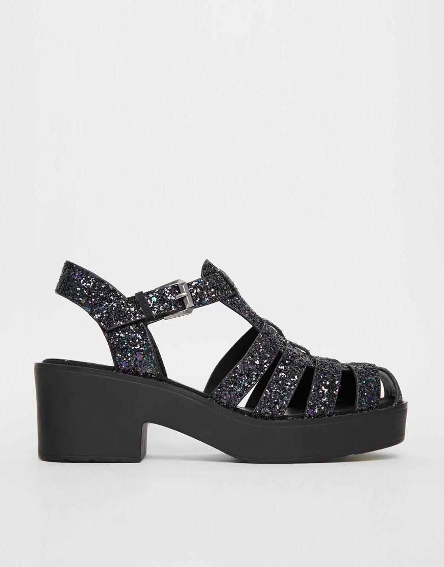 Méduse-style shoes, noires à paillettes :P