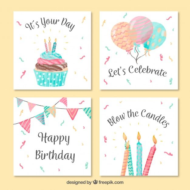 Vintage Watercolor Birthday Greeting Card Pack Happy Birthday Hand Lettering Birthday Card Drawing Watercolor Birthday Cards