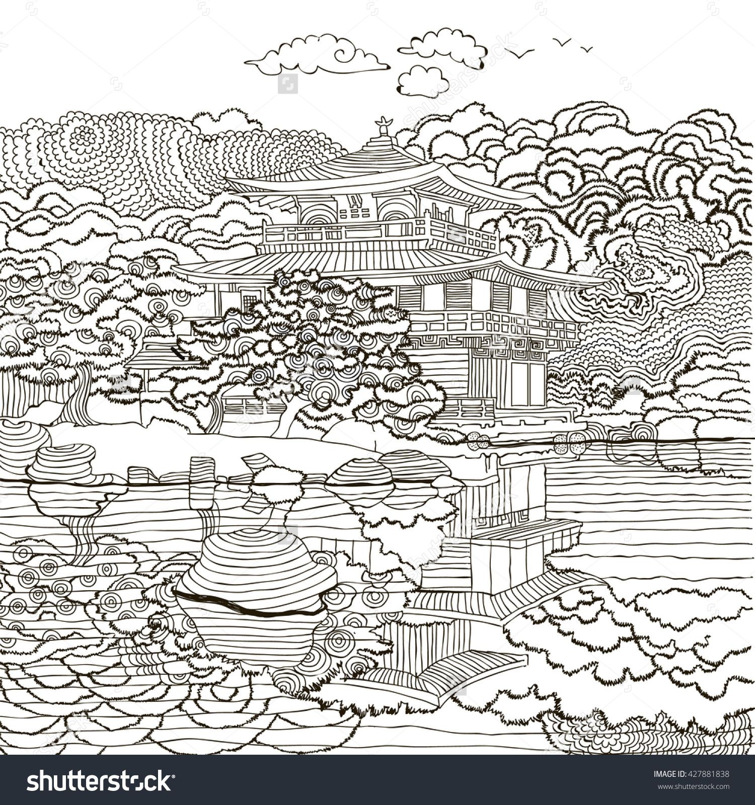 Beautiful Japanese Landscape With House And Clouds Coloring Pages Japan East