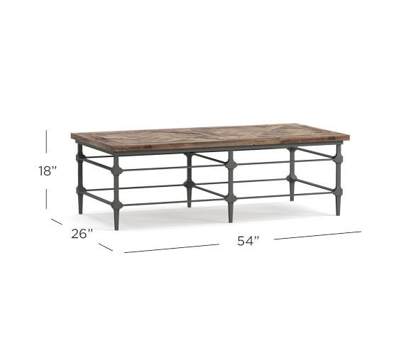 Parquet Reclaimed Wood Metal Rectangular Coffee Table: Parquet Reclaimed Wood Rectangular Coffee Table