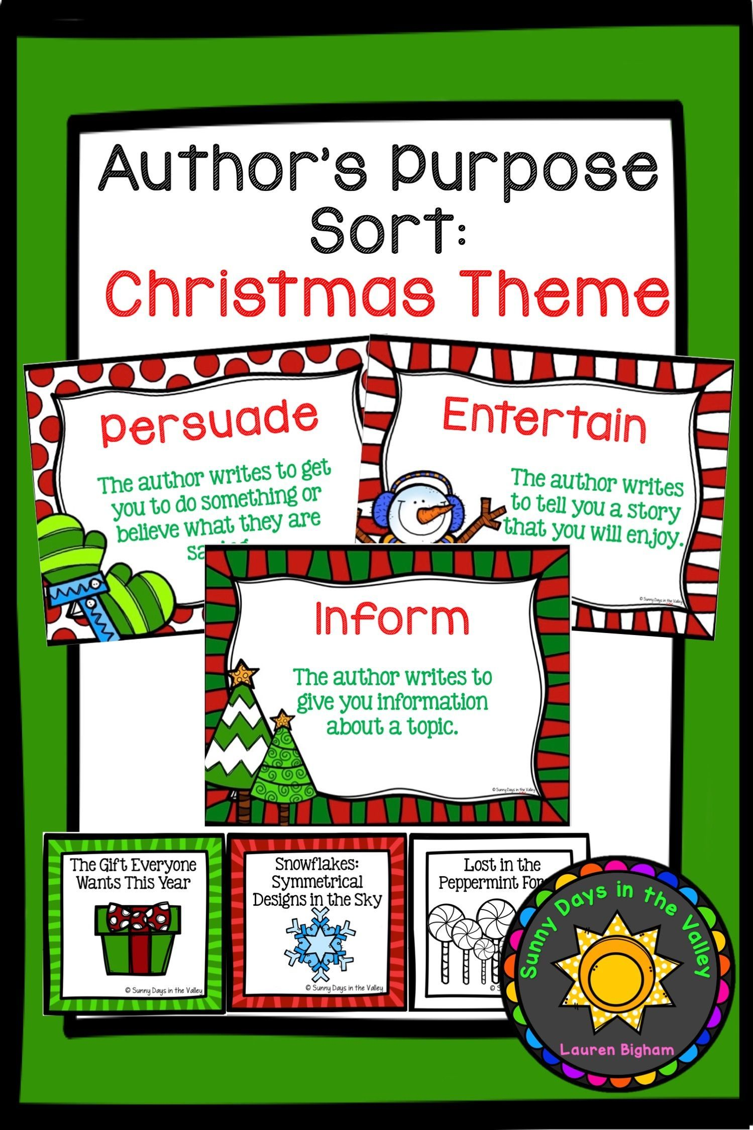 Author S Purpose Sorting Christmas Themed With Images
