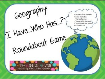 Geography Pack: Visual Vocab Powerpoint and I Have...Who Has? Game $