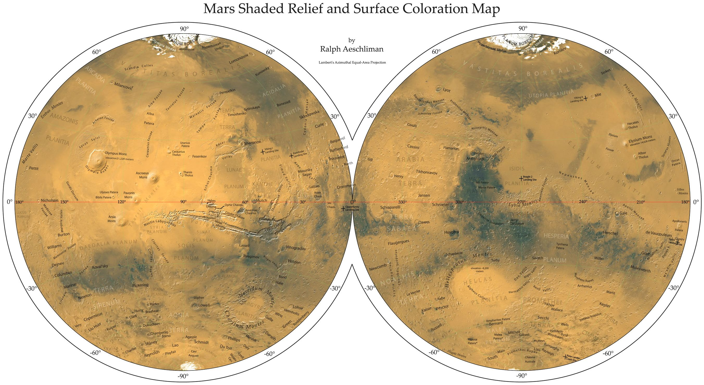 Mars shaded relief and surface coloration map | System ...