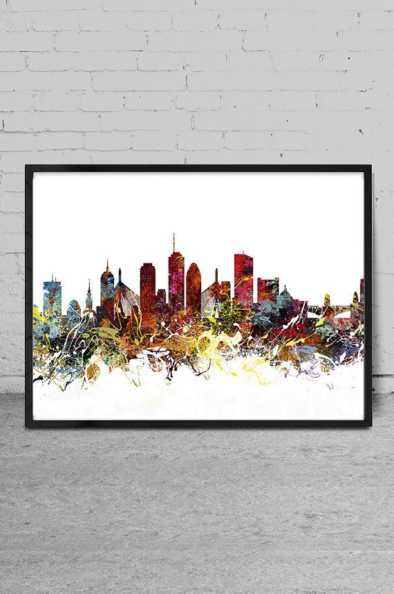 Boston Art Boston Skyline Painting Boston Wall Art By MyVisualArt