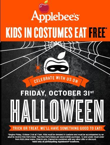 kids in costume eat free at participating applebees on halloween restrictions apply