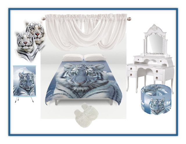 Blue White Tiger Bedroom By Erikakaisersot Liked On Polyvore