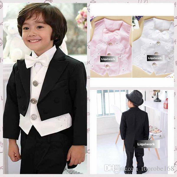 Little Boys Black White Pink Wedding Tuxedo Dress Tail Suit Boy\'s ...