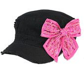 Black cadet cap with hot pink beaded bow