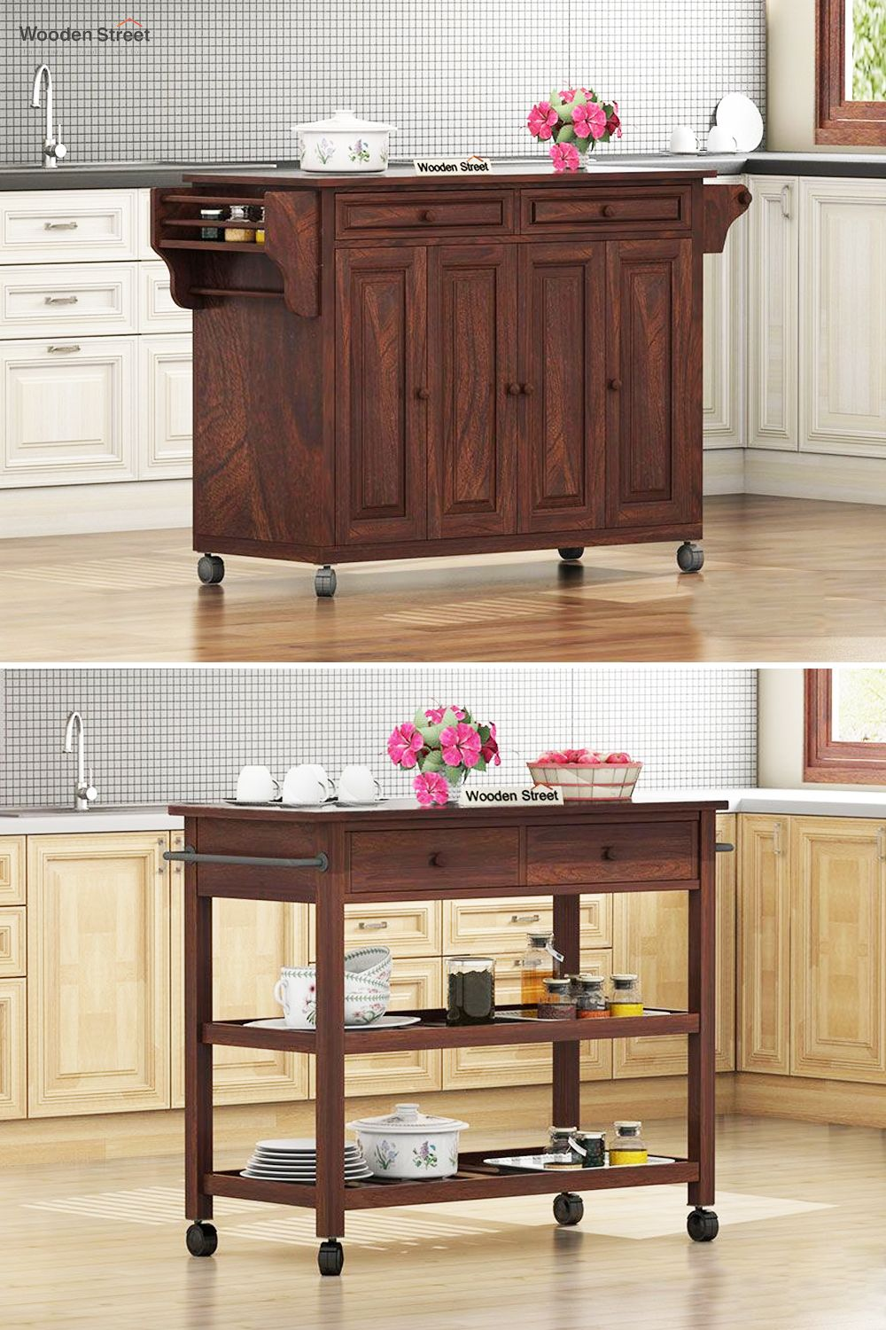 Buy Elsa Kitchen Island Walnut Finish Online In India Wooden Street Modular Kitchen Cabinets Modern Kitchen Design Kitchen Cabinet Design