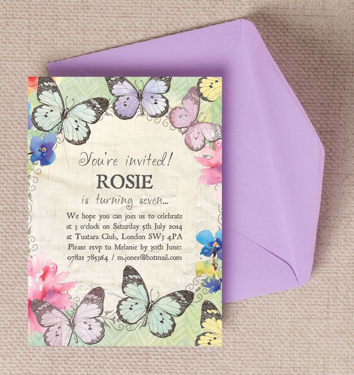 Butterfly Garden Party Invitation | Kids birthday party ...