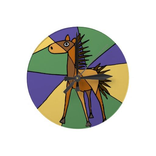 Folk Art Horse Design Round Clocks #horses #art #wallclocks #funny #animals #zazzle #petspower