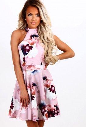 03037c87aa Fleeting Romance Pink Multi Floral Skater Dress