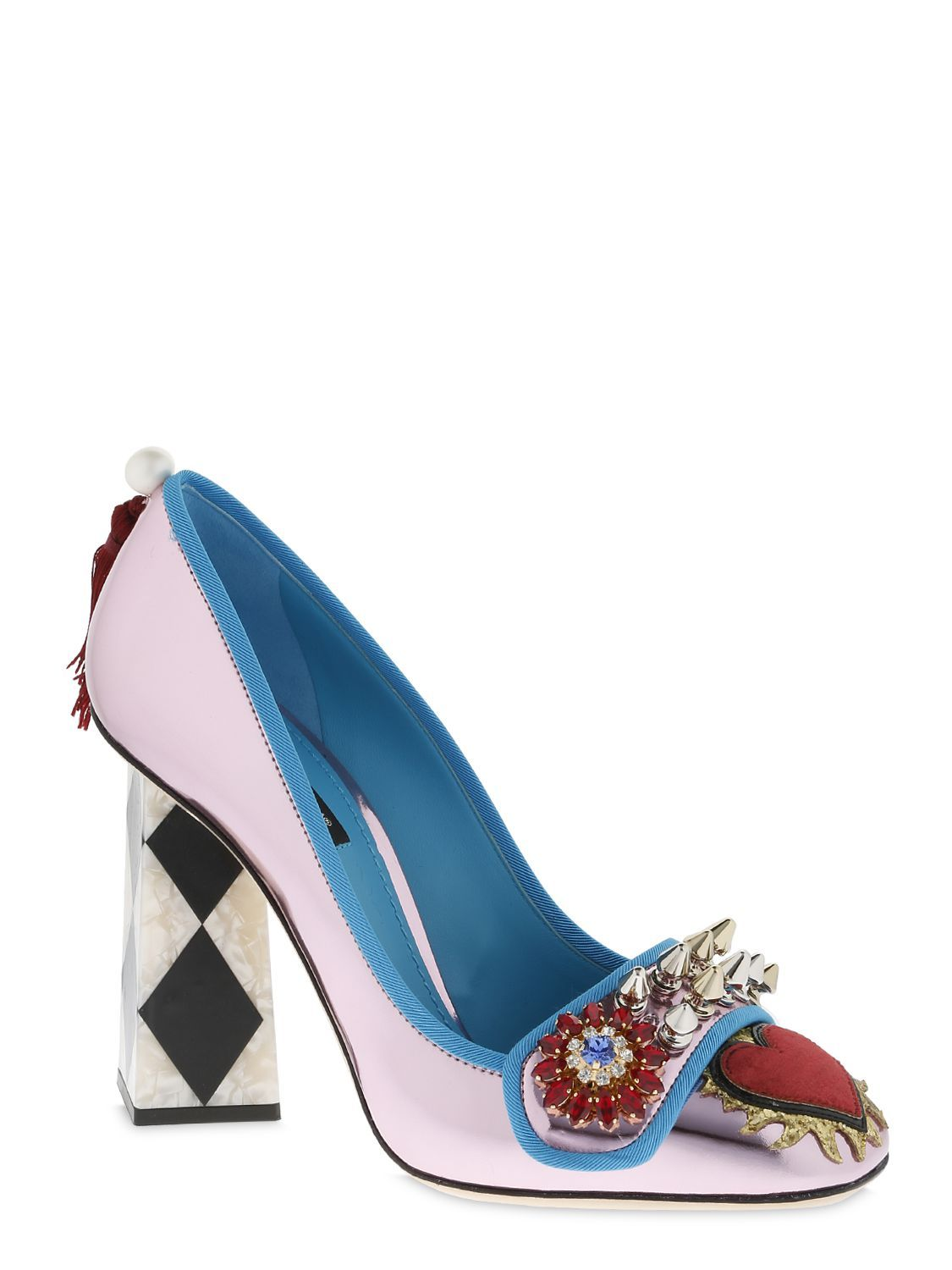 Dolce & Gabbana 100MM EMBELLISHED MIRROR LEATHER PUMPS