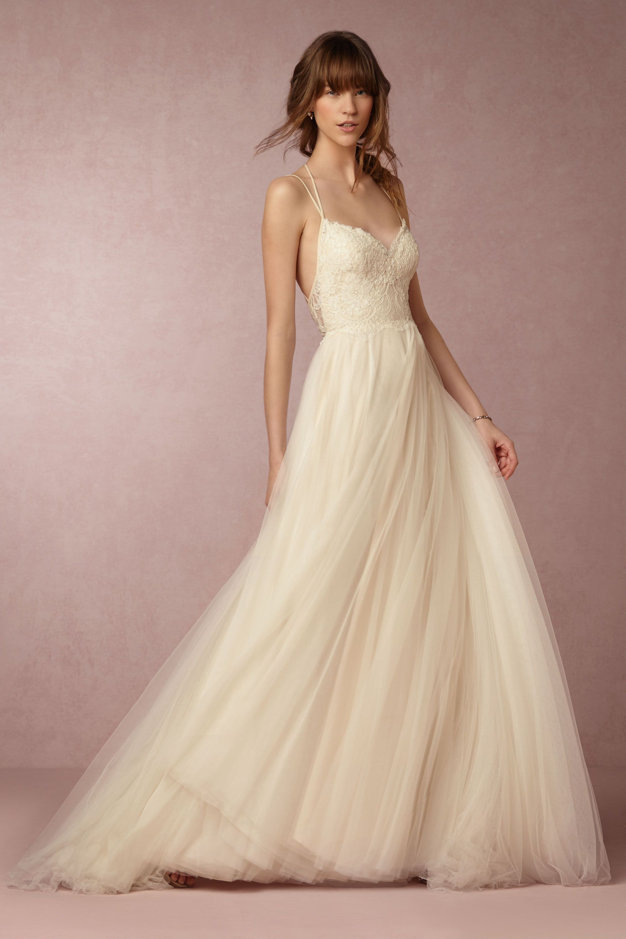 Ivory Lace Tulle Wedding Dress With Dainty Strap Detail The Dreamy Bodice Scalloped Edging At Waist And A Full Skirt Over Soft