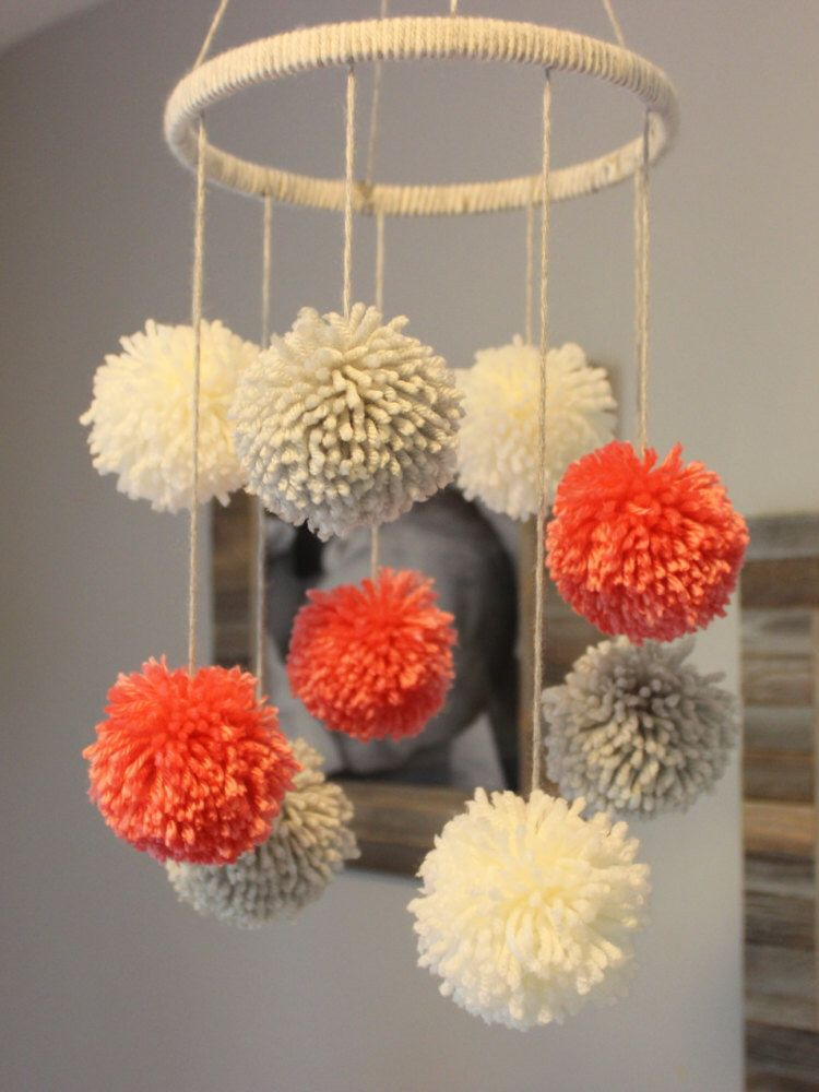 pom pom mobile by preciouspoms on etsy. Black Bedroom Furniture Sets. Home Design Ideas