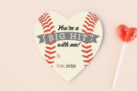 Baseball Hit Classroom Valentine's Cards