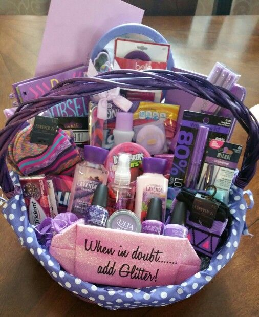 Colorful gift basket ideas themed gift baskets friend birthday when in doubt add glitter purple themed gift basket negle Gallery