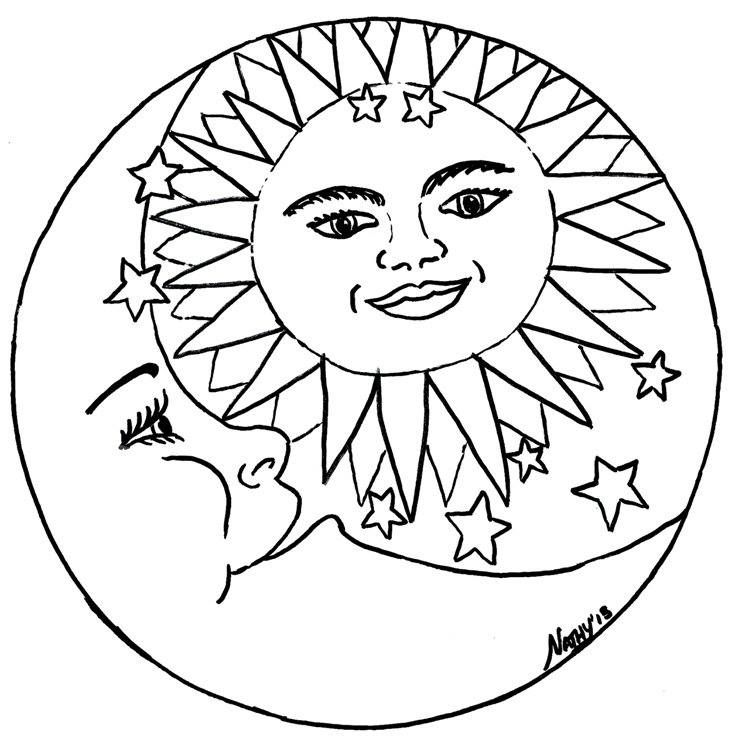 adult coloring pages sun moon pagan  moon coloring pages