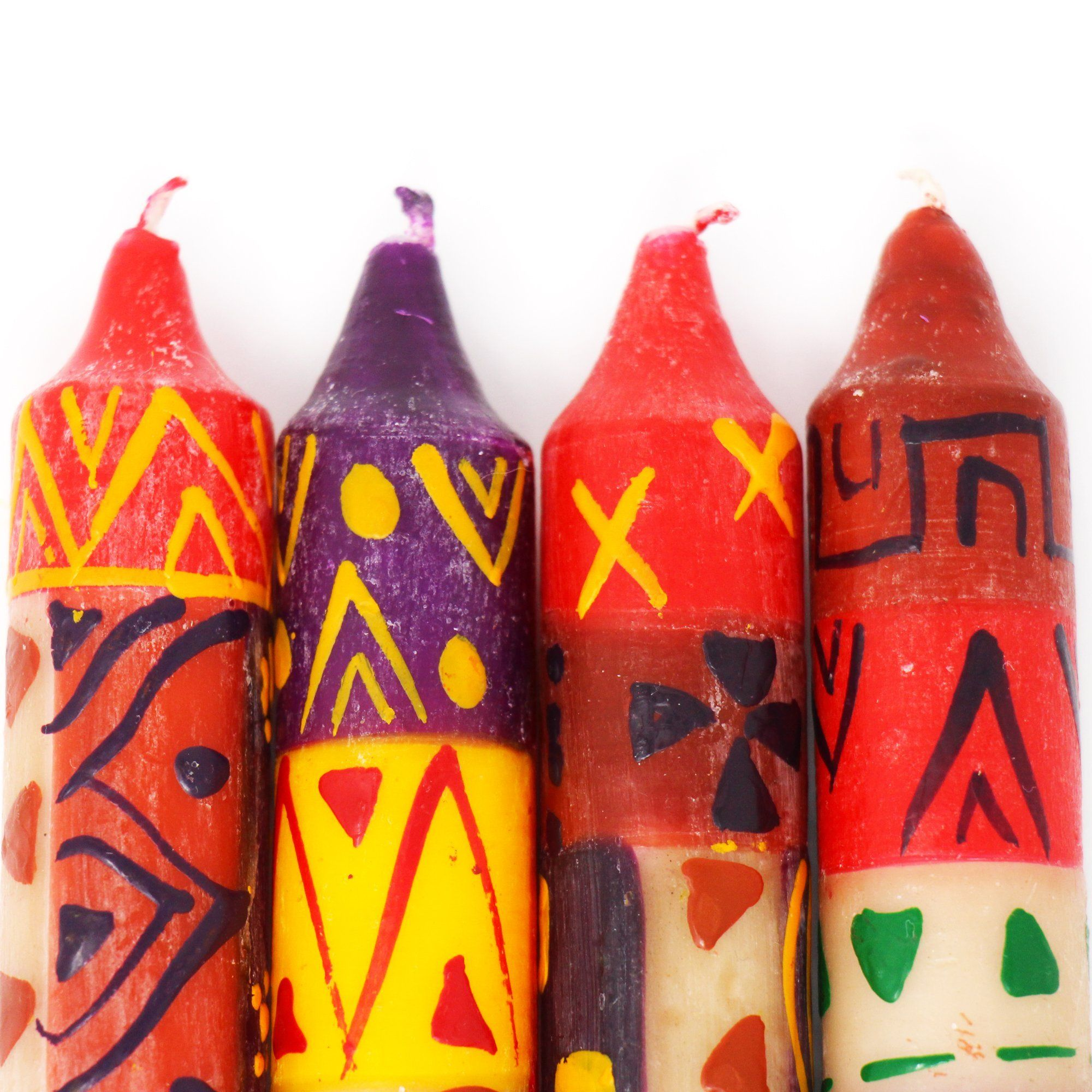 """These globally-inspired hand-painted candles are small works of art! In Zulu, """"Indabuko"""" means source or origin. To this origin, we return with this traditional design. Typical African colors, shapes, and patterns are impressively presented. Crafted by artisans in South Africa, each candle is hand-poured and then individually hand-painted. Each design name is derived from a special African word that is brought to life through the color and patterns which reflect the culture and influences of Sou"""