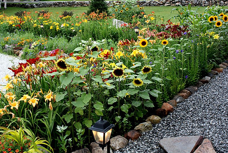 love the stonelined path, but use pea gravel Garden