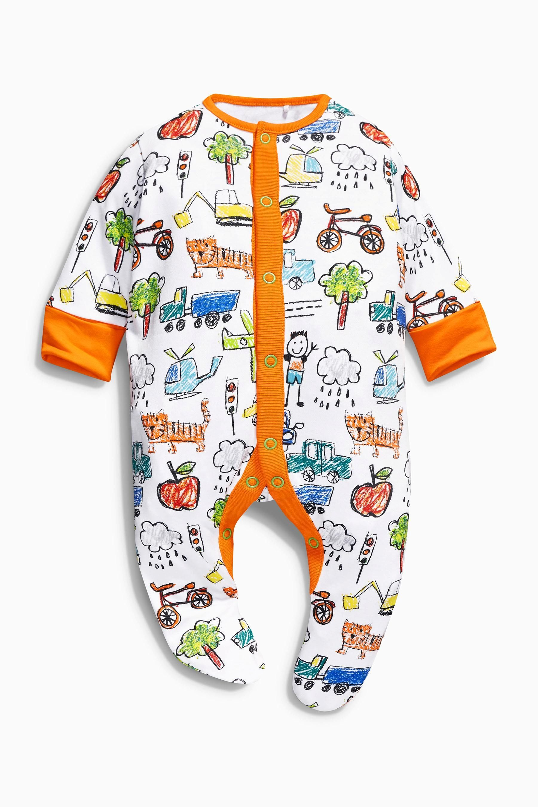 Buy Three Pack Scribble All Over Print Sleepsuits 0 2yrs from the