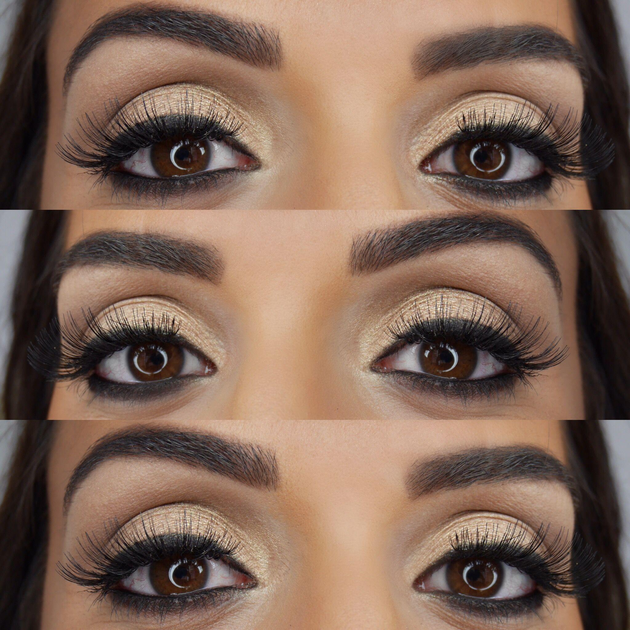 Eye makeup brown eyes gold eyeshadow round eyes brows eyebrows