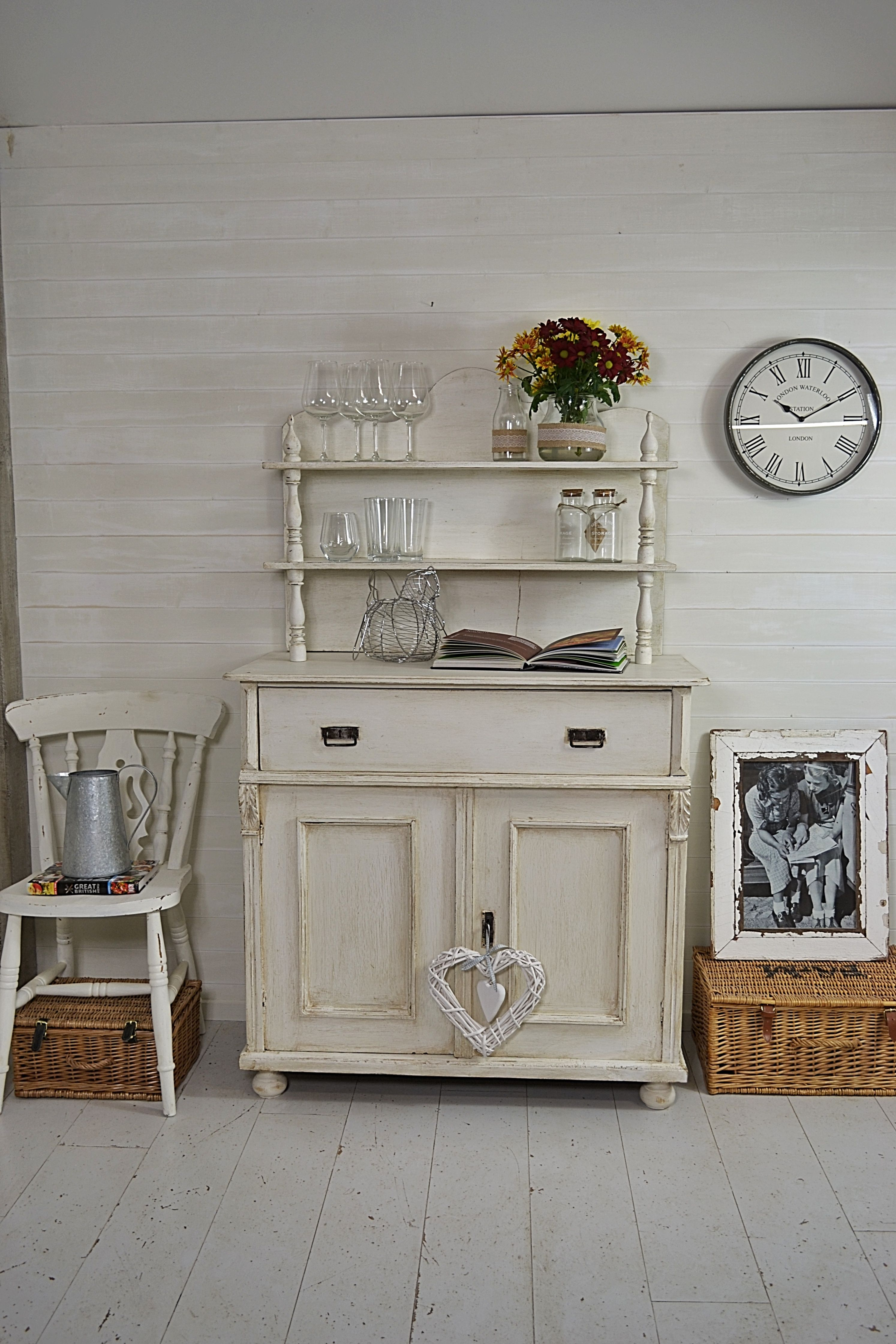 White Kitchen Dresser this adorable white kitchen cupboard has been lightly distressed