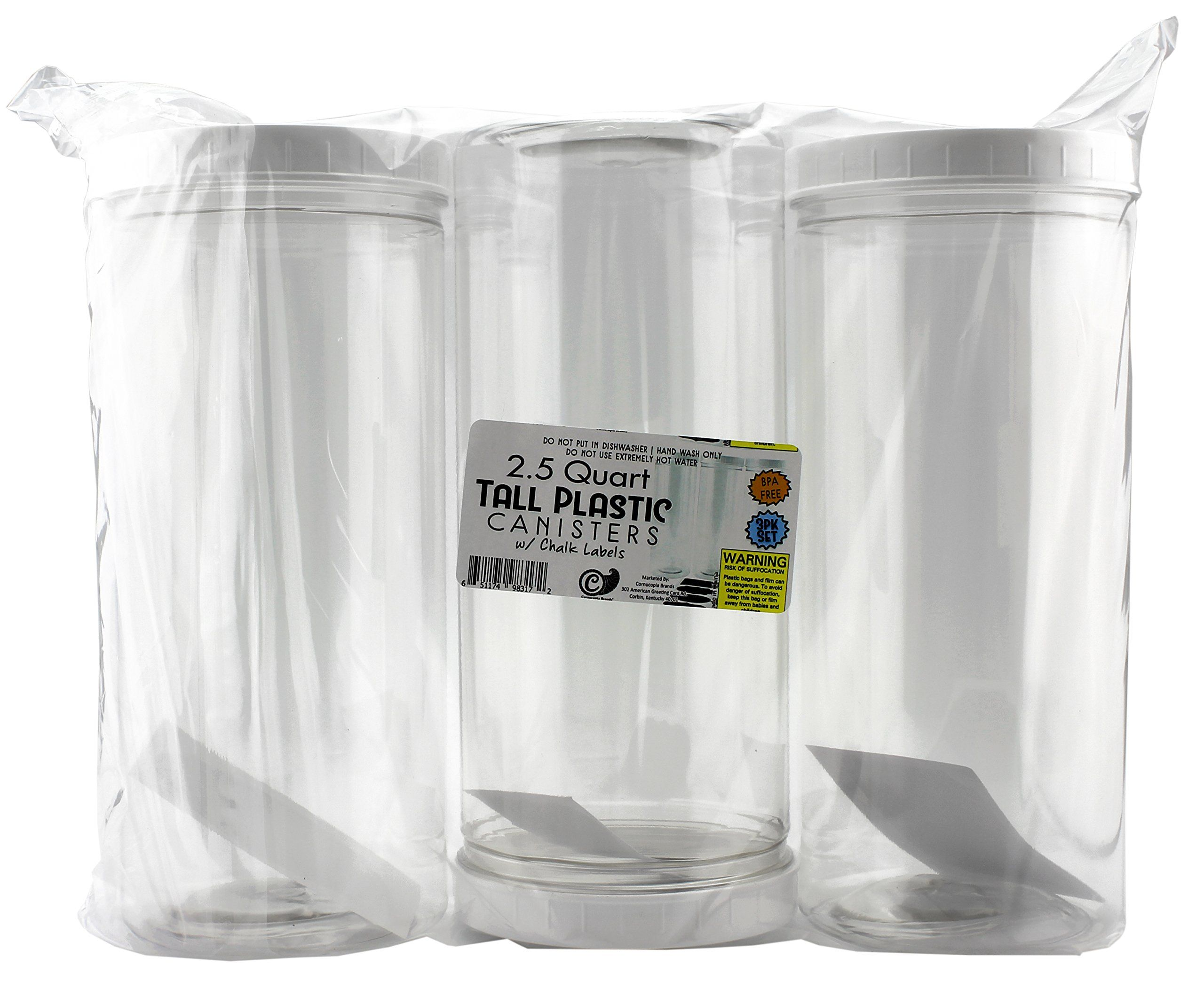 Three Tall Clear Plastic Canisters W White Lids And Chalk Labels 2 5 Quart 10 Cup Capacity 10inch High Bpafree Pet Plastic Chalk Labels Plastic Canisters Jar