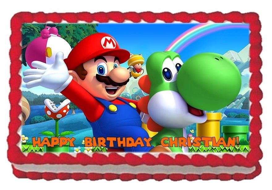 Super Mario Birthday Cake Topper Rectangle