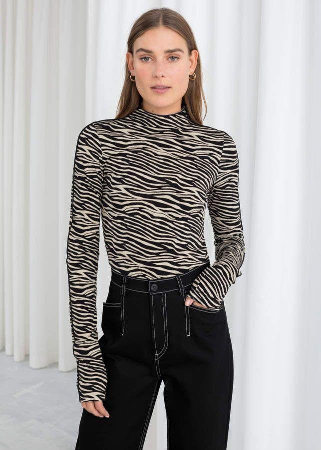 bd961da275e Fitted Zebra Turtleneck in 2019 | Products | Turtle neck, Fashion ...