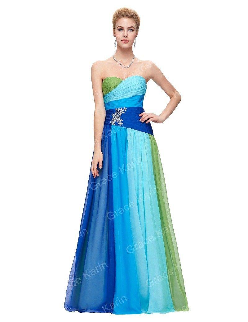 Blue red formal evening dresses plus size elegant long chiffon like