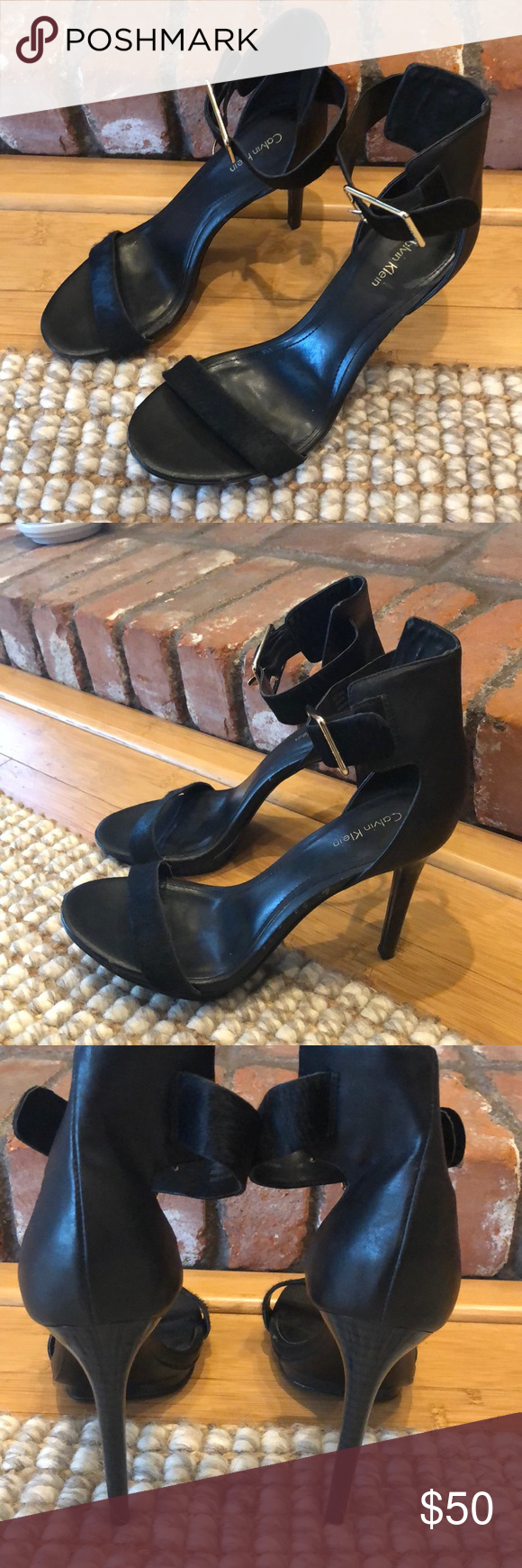 a00a1caf934 Calvin Klein Vivian Ankle Strap Sandals Gently used. The all black shoe is  hard to find and looks a lot better in than the nude base version.