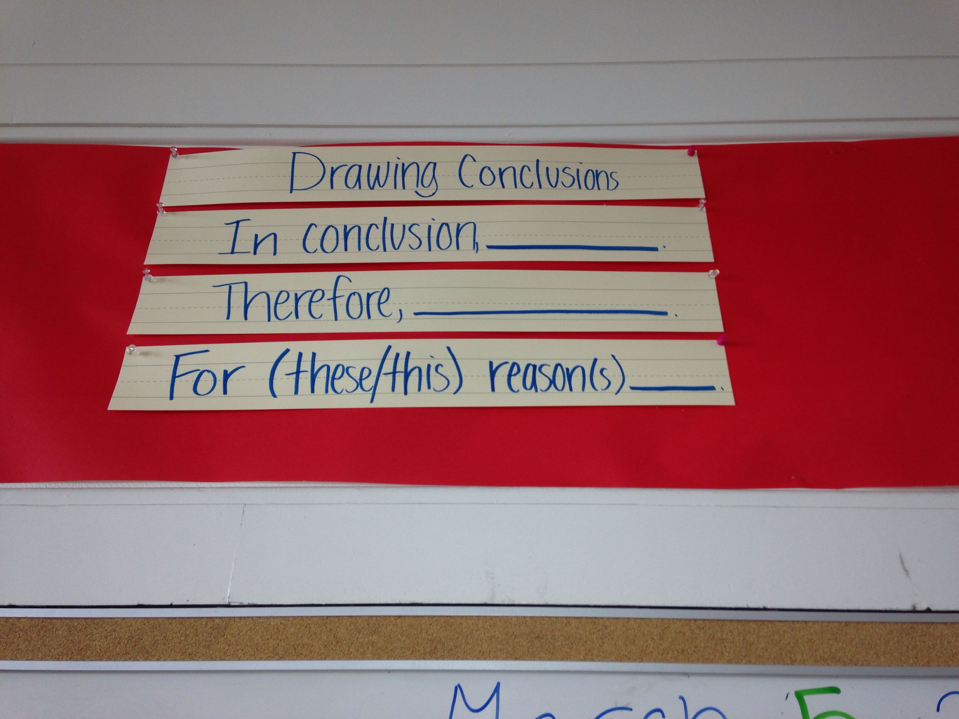 Drawing Conclusions Sentence Starters