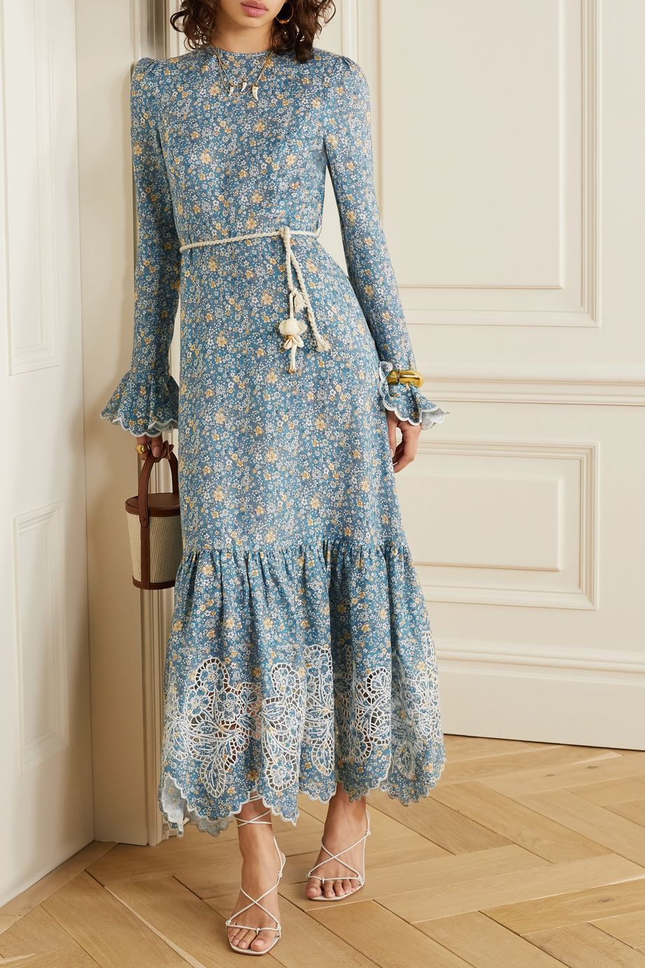 Light Blue Carnaby Belted Broderie Anglaise Trimmed Floral Print Linen Midi Dress Zimmermann In 2020 Linen Maxi Dress Blue Boho Dress Midi Dress