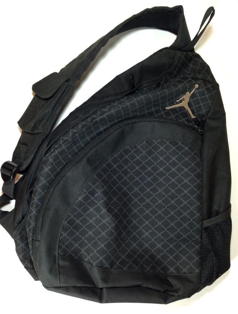 Nike Air Jordan Jumpman Shoulder Sling Backpack Book Bag Black Silver  Emblem  AirJordan  Backpack bc7fe8940e84e