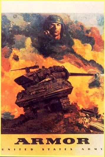 Framed Print US World War 2 Soldiers and Tank Picture Poster Military WW2