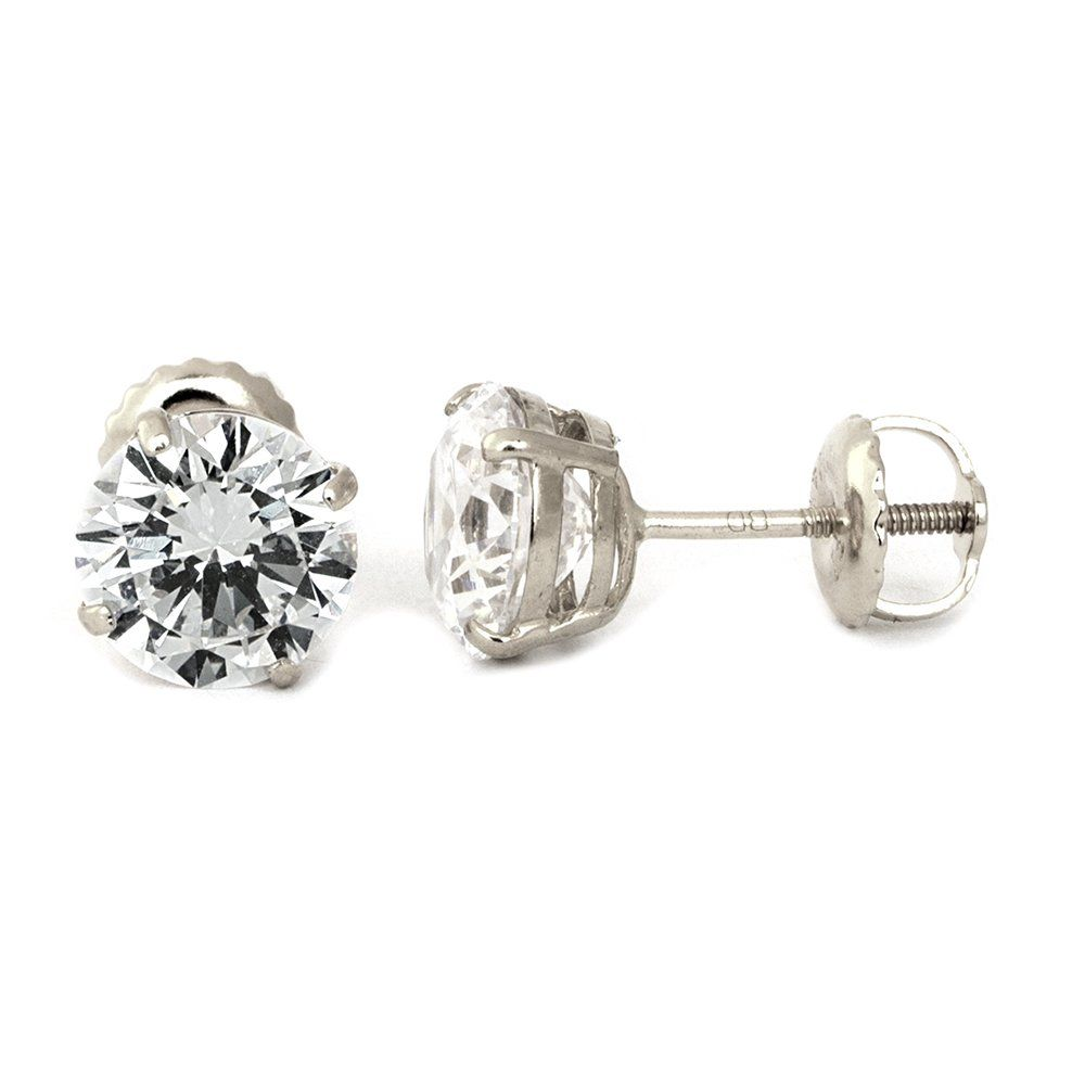 14k White Gold Aaa Cz Round Stud Screw Back Earrings  7mm These Earrings  Are