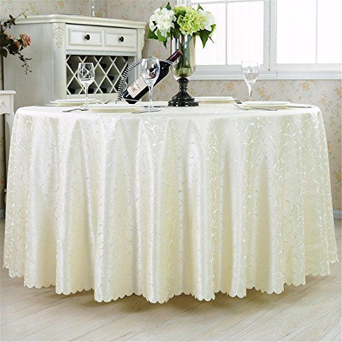 Hoomy Modern Polyester Tablecloths Off White Round Table Cloth For Wedding  Durable Jacquard Table Covers 118 Inch
